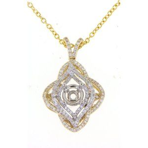 Semi Mount Clover Diamond Pendant